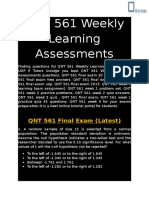 QNT 561 - QNT 561 Weekly Learning Assessments - UOP E Tutors