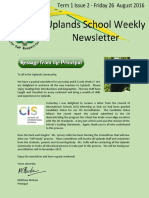 Uplands School Weekly Newsletter - Term 1 Issue 2 - 26 August 2016