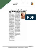 Este. Nel Duomo di Santa Tecla le esequie del glottologo Aldo Prosdocimi - Il Mattino di Padova del 15 agosto 2016