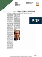 Addio al glottologo Aldo Prosdocimi - Il Corriere delle Alpi del 13 agosto 2016