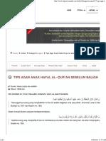 Tips Agar Anak Hafal Al-qur'an Sebelum Baligh