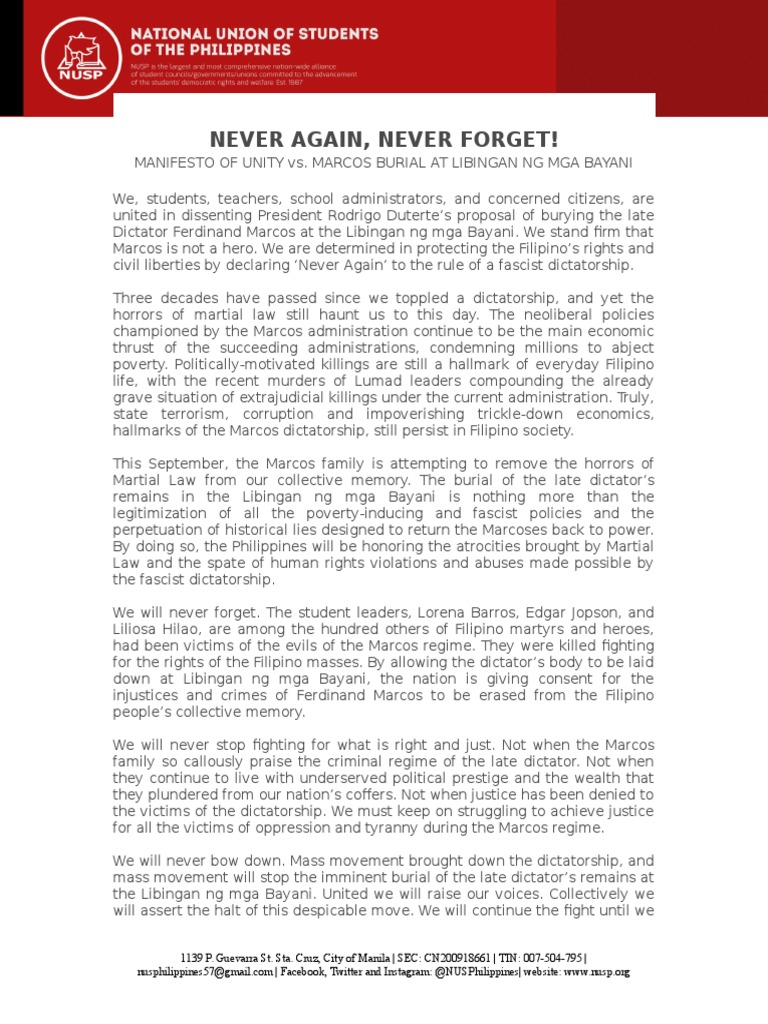 Manifesto Of Unity Against Marcos Burial At Lnmb Docx Rodrigo  # Lorena Alinea Guide