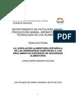 Legislacion Alimentaria Española - De Las Ordenanzas a Los Reglamentos Europeos