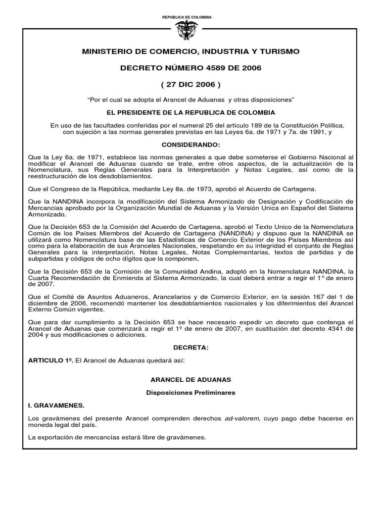 Arancel de Aduanas Colombia