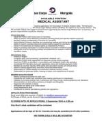 Peace Corps Medical Asst Job Announcement 2016