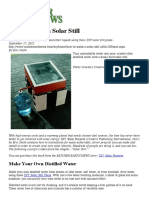 Distilled Water From Dirty Water Solar