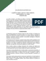 Declaracion Cumbre de Cambio Climático y Medio Ambiante