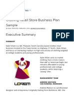 Business plan sample for clothing store