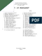7 St. Margaret Class List
