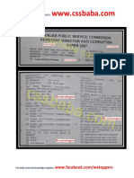PPSC FPSC Assitant Director Anti Corruption Past Papers Solved 2007
