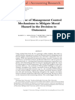 The Use of Management Control Mechanisms to Mitigate Moral Hazard in the Decision to Outsource