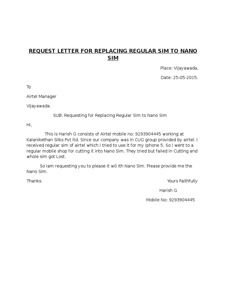Request Letter For Replacing Regular Sim To Nano Sim