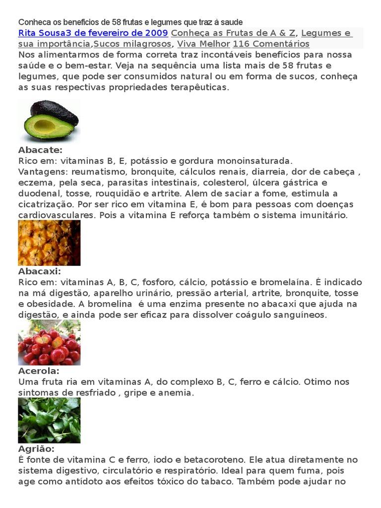 frutas vitaminas do complexo b