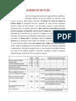 EJERCICIO 5.22 - Costos y Presupuestos