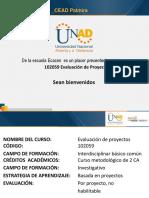 Presentacion Del Curso Evaluación de proyectos