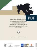 Arboleda, Nayibe (Comp) - Memorias Del Encuentro Internacional de Mujeres Afrodescendientes. Experiencias en Politicas Publicas Con Enfoque Etnico y de Genero