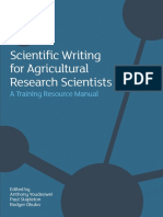 Scientific Writing for Agricultural Research Scientists a Training Resource Manual