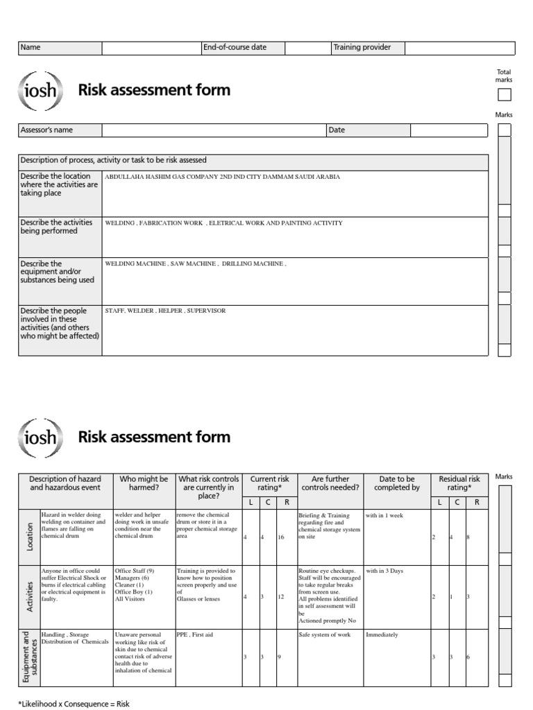 Risk assessment project 3 welding risk for Gardening risk assessment