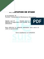 Exemple Attestaexemple Attestation de stagetion de Stage