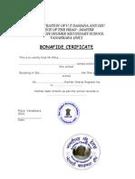 Bonafide Certificate