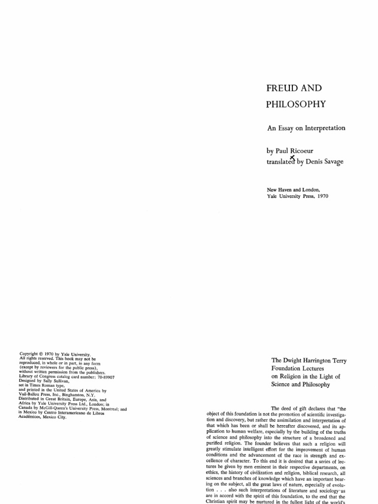 ricoeur freud and philosophy