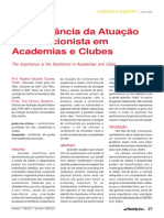 A Importância Da Atuação Do Nutricionista Em Academias e Clubes