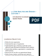 System Analysis and Design - Lecture 1