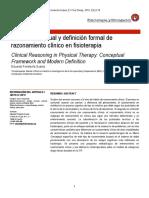 Marco conceptual y definición formal de razonamiento clínico en fisioterapia