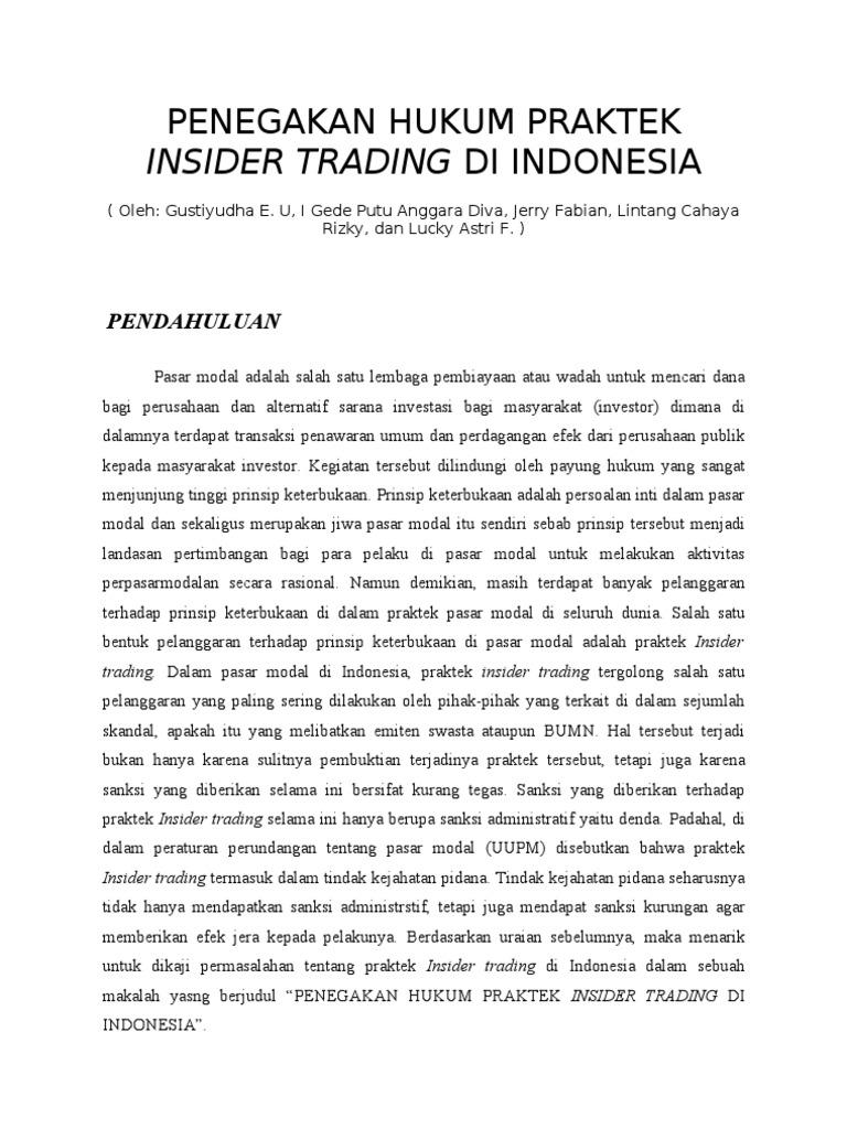 Apa Itu Insider Trading?