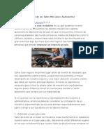 Guía Para Montaje de Un Taller Mecánico Automotriz