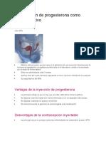La Inyección de Progesterona Como Anticonceptivo
