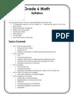 math 6 syllabus