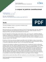 El Juez de Habeas Corpus y La Justicia Constitucional