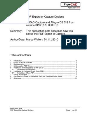 FlowCAD an Capture PDF Export | Portable Document Format