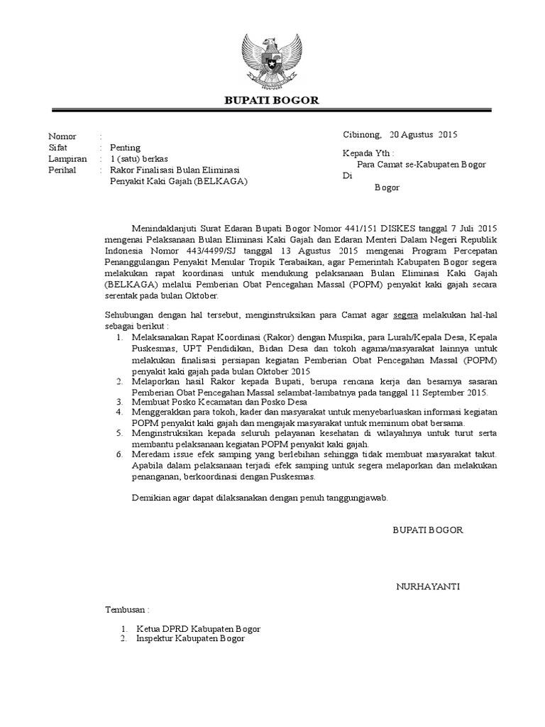 Surat Edaran Filariasis Utk Rakor Kecamatan Rev