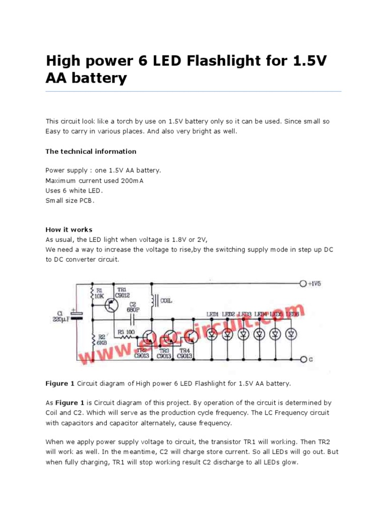 High Power 6 Led Flashlight Project Circuit Diagram