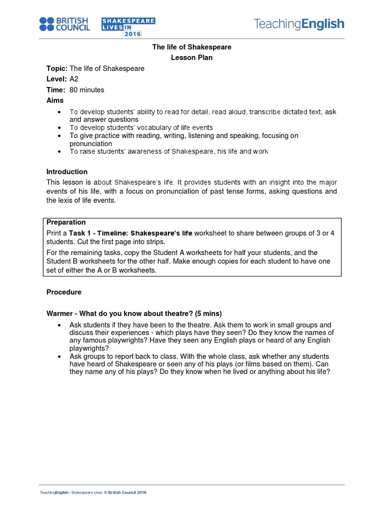 worksheet Shakespeare Worksheets life of shakespeare lesson plan william shakespeare