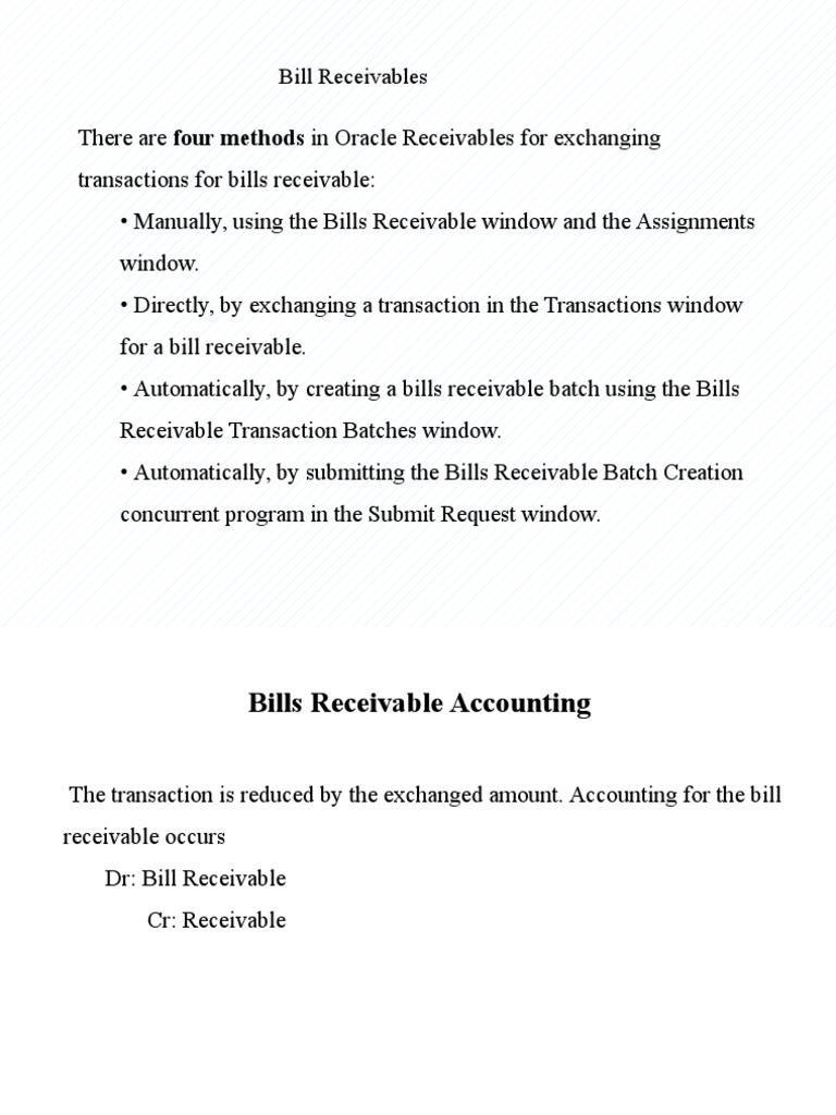 Bill Receivables | Financial Transaction | Debt  Bill Receivables