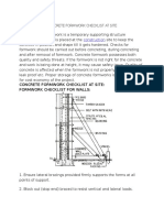 Concrete Formwork Checklist at Site