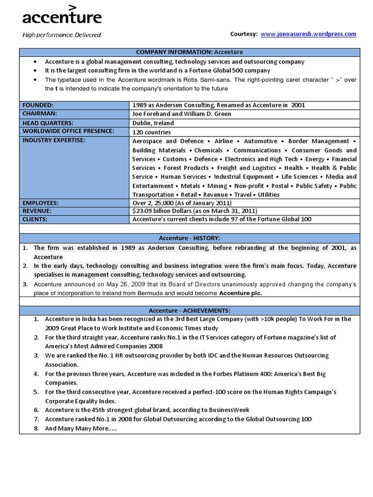 accenture-company-details pdf | Accenture | Economies