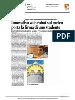 Innovativo web robot sul meteo porta la firma di uno studente - La Gazzetta del Mezzogiorno del 27 agosto 2016
