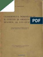 (1941) Ceasornicul Domnilor de N. Costin Şi Originalul Spaniol Al Lui Guevara [N. Cartojan]