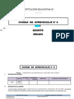 UNIDAD DE APRENDIZAJE 5° DE ED. PRIMARIA AGOSTO 2016