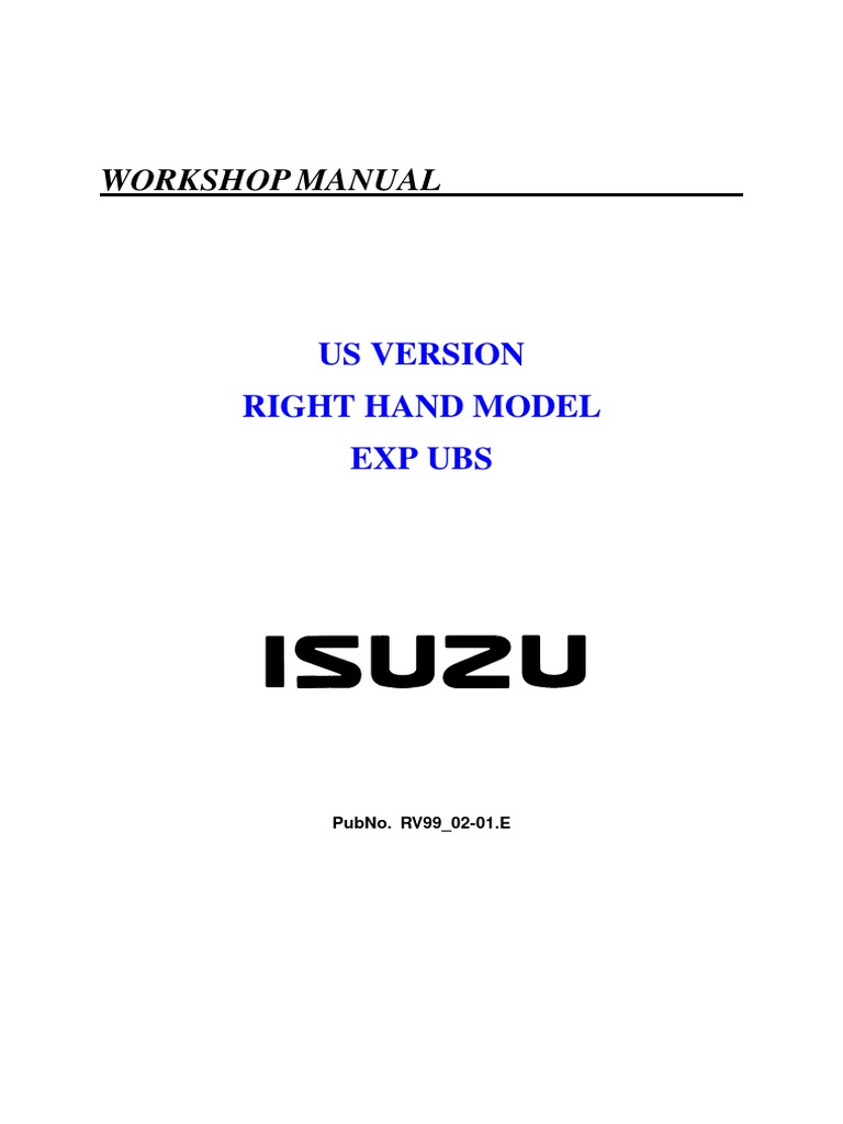 isuzu trooper workshop manual motor oil engines rh scribd com 2015 Isuzu Trooper 2002 Isuzu Trooper