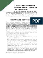 Certificado de Posesión Hualgayoc El Tingo