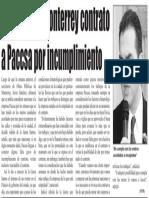 27-08-16 Rescindiría Monterrey contrato a Paccsa por incumplimiento