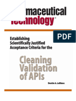 Establishing Scientifically Justified Acceptance Criteria for the Cleaning Validation of Apis (Active Pharmaceutical Ingredients) (Le Blanc)