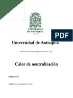 Informe N 1 Lab. Fisicoquimica Calor de Neutralizacion