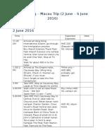 Hong Kong and Macau Trip Itinerary 2016
