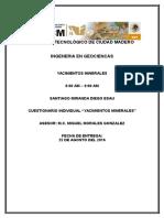 Cuestionario De Yacimientos Minerales :v